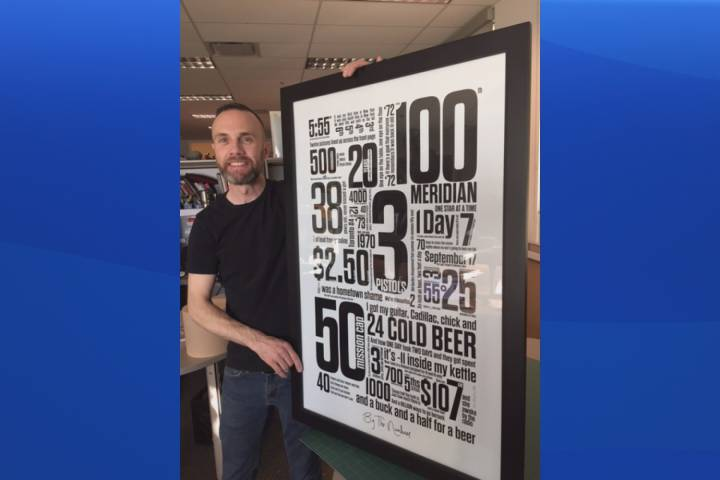 Erin McGuire poses with his graphic design, 'By the Numbers,' which he created in honour of Gord Downie and The Tragically Hip.