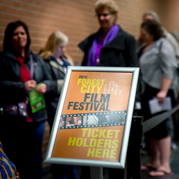Londoners line up ahead of a screening at the 2016 Forest City Film Fest.