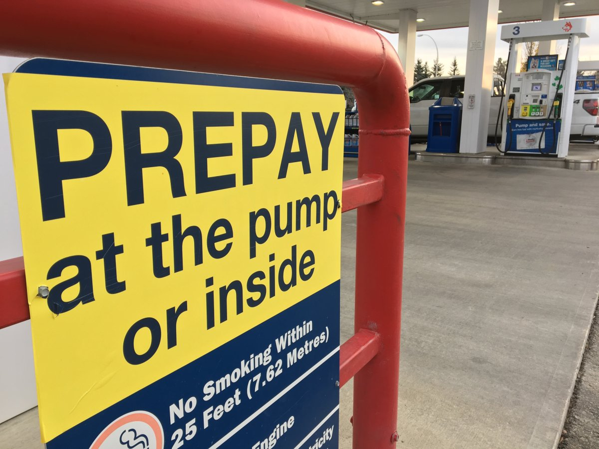 A Husky station pump requiring drivers to pre-pay before fueling up in Edmonton, Alta. October 30, 2017.