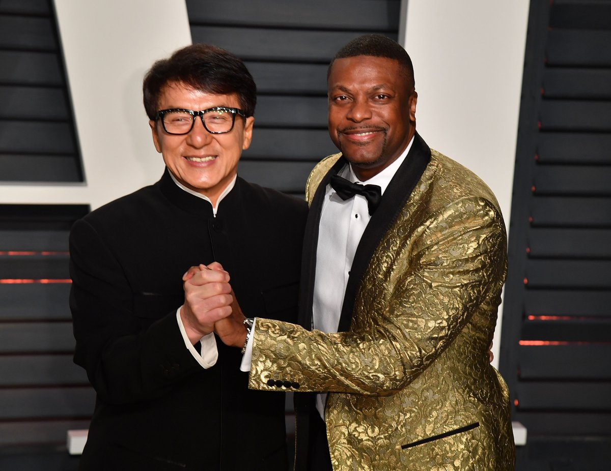 Jackie Chan and Chris Tucker attend the 2017 Vanity Fair Oscar Party Hosted by Graydon Carter at the Wallis Annenberg Center for the Performing Arts on February 26, 2017 in Beverly Hills, California.