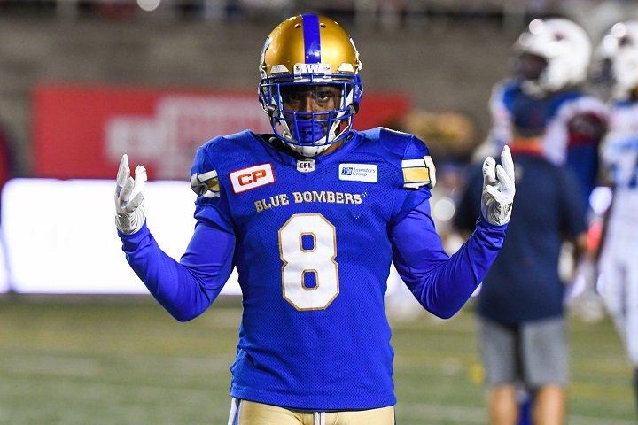 Winnipeg Blue Bombers defensive back Chris Randle returned an interception for a touchdown in his team's win over the Edmonton Eskimos during Week 15.