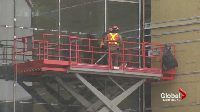 A construction worker onsite of the new CHUM super hospital.