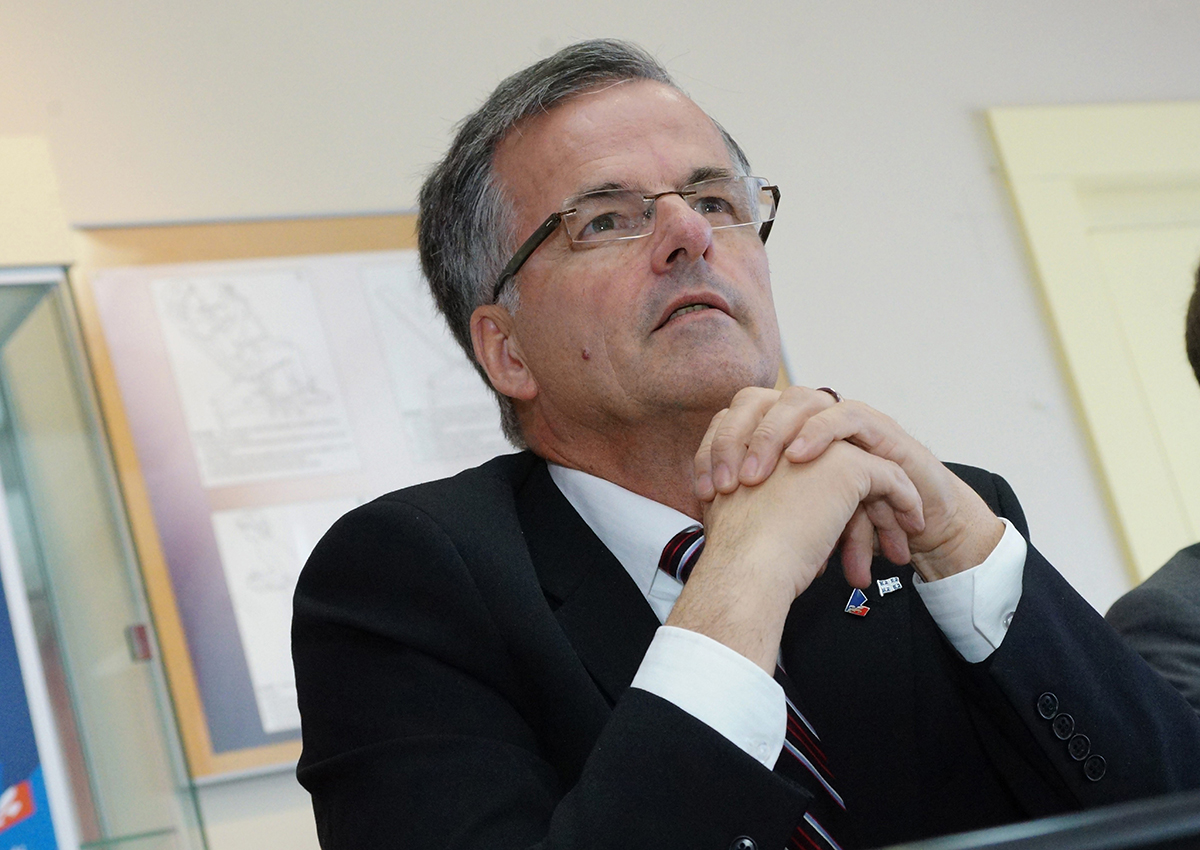 Liberal candidate for the riding of Chomedey Guy Ouellette at a press conference in Laval, Que., March 12, 2014.