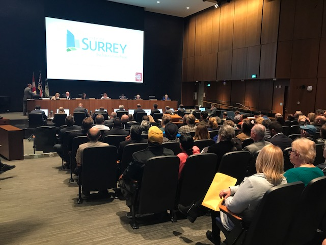 It was a packed house at Surrey City Council on Monday night, as the city debated a controversial road that would cut through Hawthorne Park.