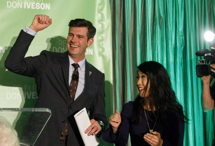Mayor Don Iveson and his wife Sarah Chan celebrate his re-election in Edmonton Alta, on Monday, October 16, 2017. This will be his second term as Mayor of Edmonton.