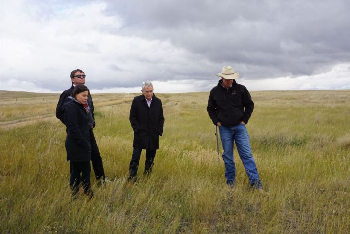 Alberta Agriculture Minister Oneil Carlier tweeted this photo taken in September 2016 near Medicine Hat, remembering a meeting with Hargrave: (left to right) Environment Minister Shannon Phillips, Carlier, Speaker of the House Bob Wanner, firefighter James Hargrave.