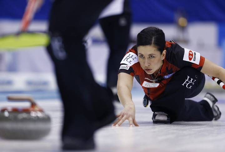 Jill Officer curls in the world championships gold-medal game in Sapporo, Japan.