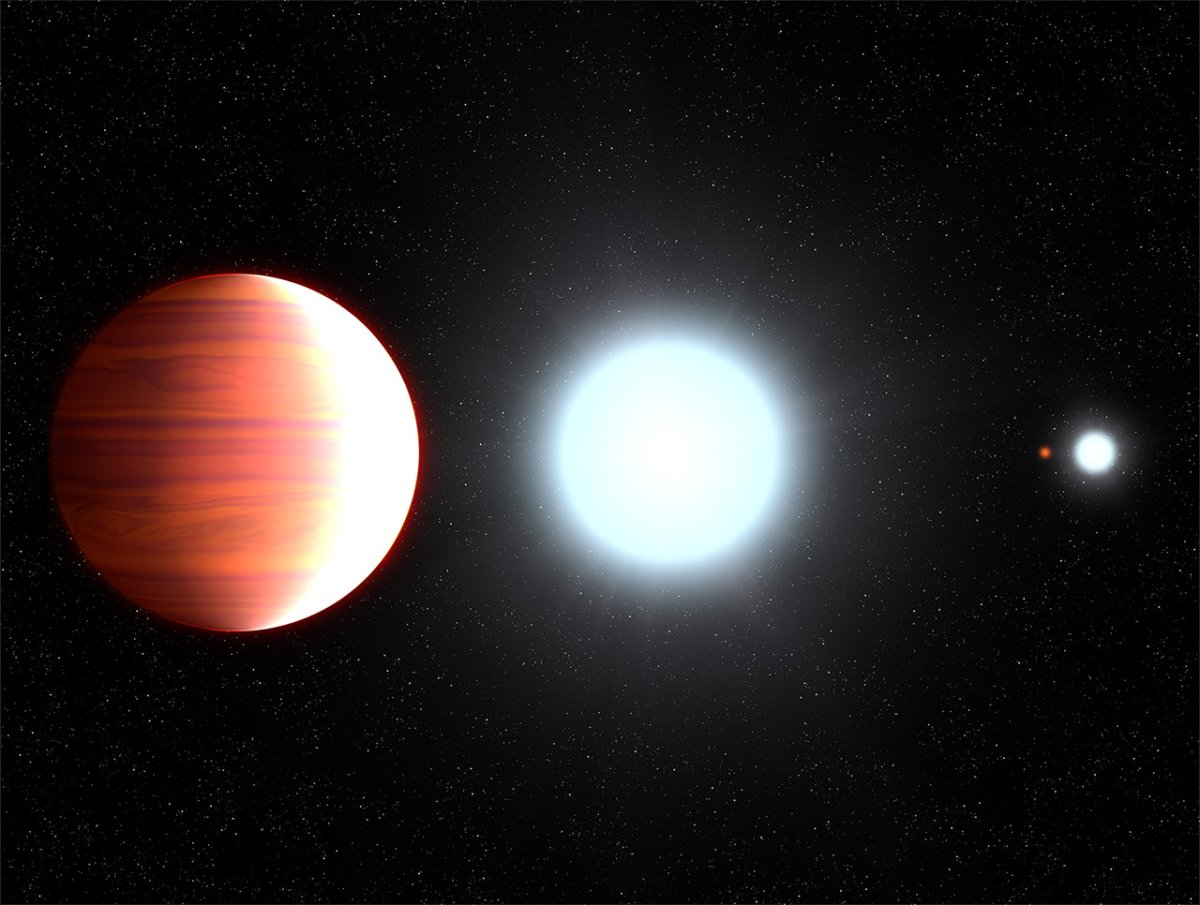 This illustration shows the seething hot planet Kepler-13Ab circling very close to its host star.