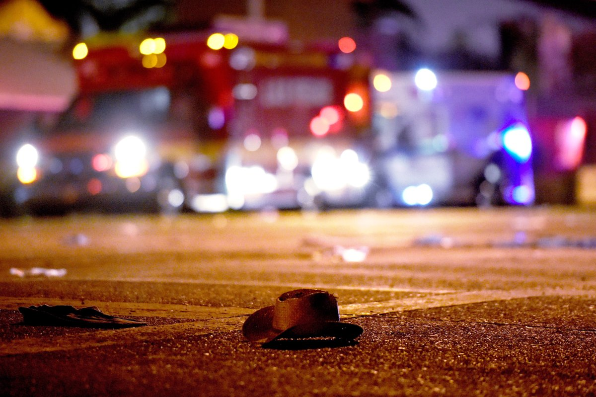 LAS VEGAS, NV - OCTOBER 02:  A cowboy hat lays in the street after shots were fired near a country music festival on October 1, 2017 in Las Vegas, Nevada. A gunman has opened fire on a music festival in Las Vegas, leaving at least 20 people dead and more than 100 injured. Police have confirmed that one suspect has been shot. The investigation is ongoing. (Photo by David Becker/Getty Images).