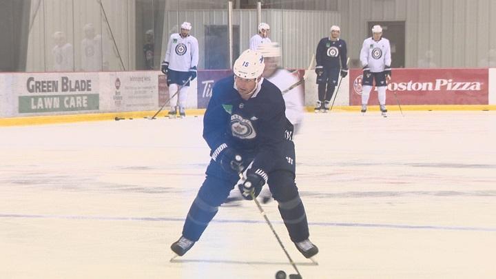 Winnipeg Jets forward Matt Hendricks practices on Monday at the Bell MTS Iceplex.