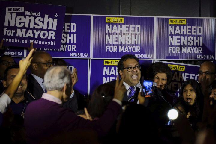 Naheed Nenshi celebrates his victory as Calgary's mayor following municipal elections in Calgary  late Monday, Oct. 16, 2017.