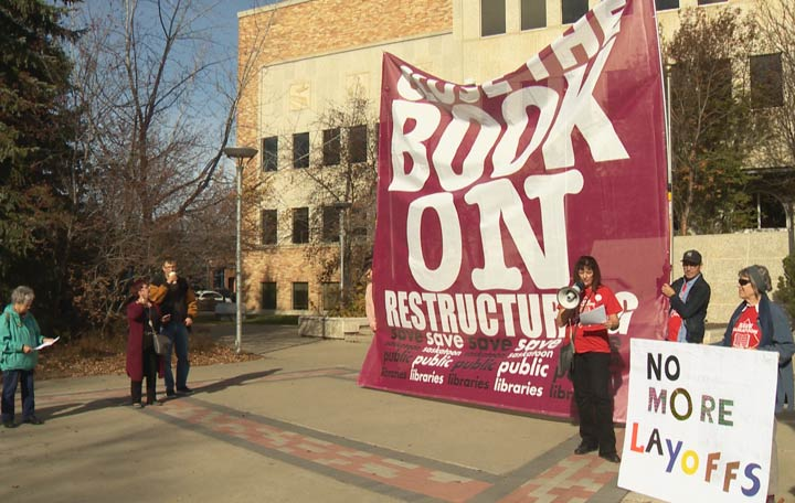 A rally was held outside city hall to protest changes within Saskatoon Public Library.