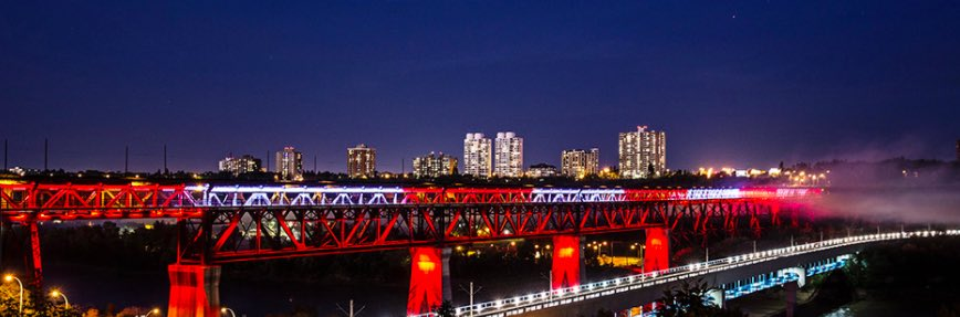 The High Level Bridge was lit red and white for Canada after the terror attack in Edmonton.