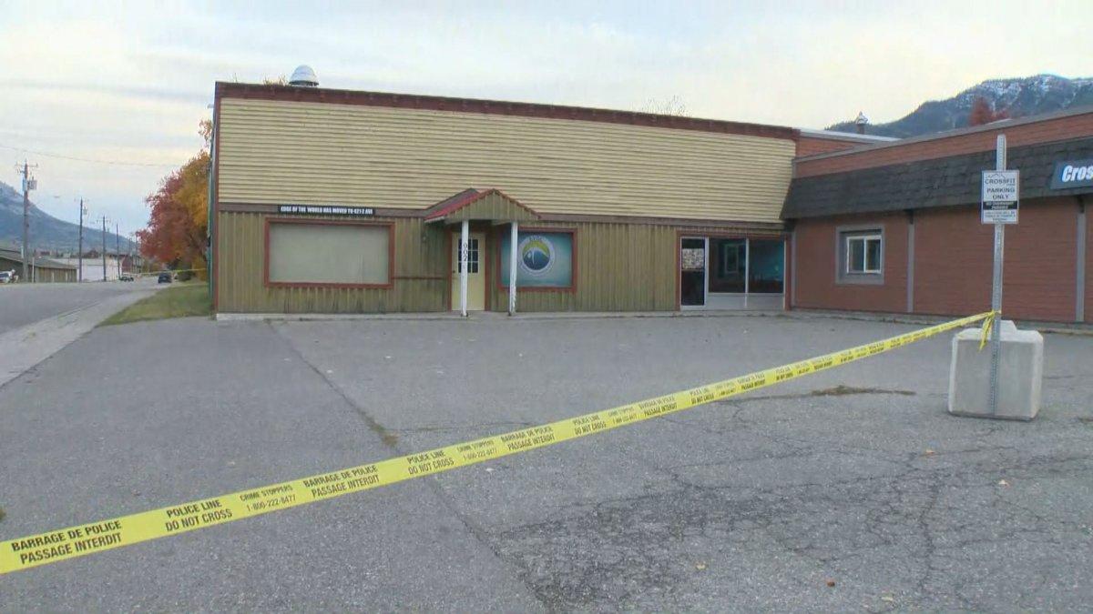 Crime scene tape up outside the Fernie Memorial Arena on Wednesday.