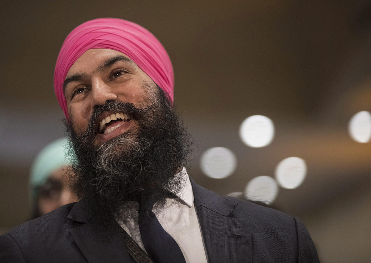 Jagmeet Singh listens to a speech before the announcement he won the first ballot in the NDP leadership race to be elected the leader of the federal New Democrats in Toronto on Sunday, October 1, 2017.