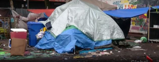 Previous image of tent city at 58 West Hastings, Vancouver.