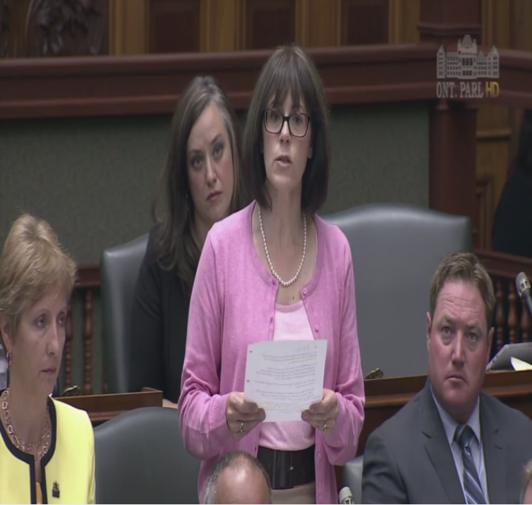 London—Fanshawe MPP Teresa Armstrong in the Ontario Legislature, Oct. 4, 2017, querying the government on long-term care.