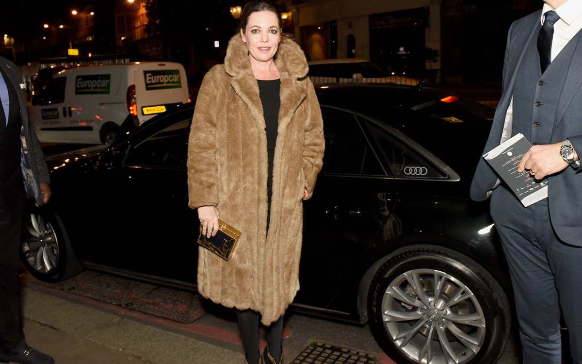 Olivia Colman arrives in an Audi at the British Independent Film Awards at Old Billingsgate Market on December 4, 2016 in London, England.