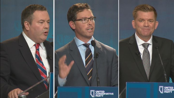 Jason Kenney (left) Doug Schweitzer (centre) and Brian Jean (right) during the 2017 UCP leadership campaign.