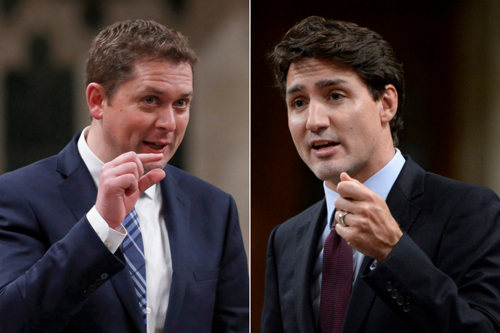 Andrew Scheer and Justin Trudeau in the House of Commons.