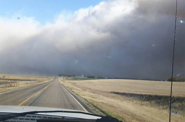 A wildfire emergency advisory was issued by the town of Burstall, Sask., on Tuesday.