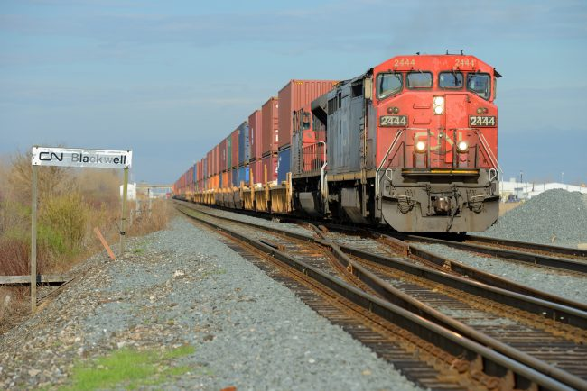 A CN Rail train departing Sarnia, Ont., is seen on April 16, 2017.