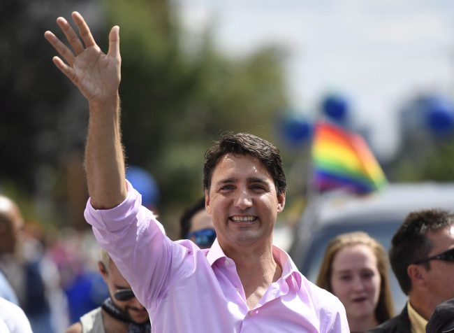 Prime Minister Justin Trudeau marches in the Ottawa Capital Pride parade, Aug. 27, 2017.