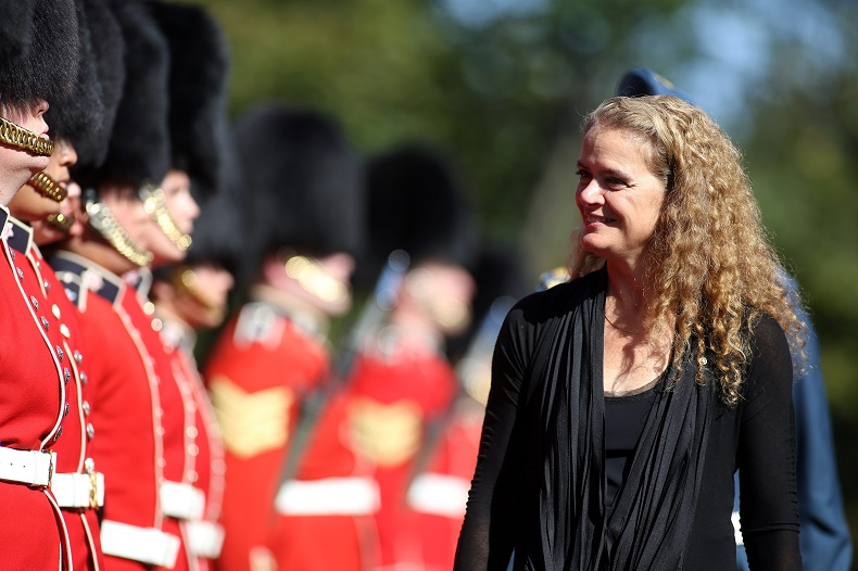 Governor General Julie Payette inspects the honour guard at Rideau hall in Ottawa, Ont. on Monday, Oct. 2, 2017.