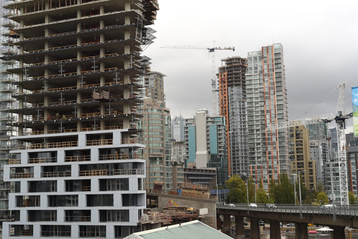 Towers of offices and condos continue to rise across the Vancouver, B.C. skyline on Saturday, September 30, 2017.