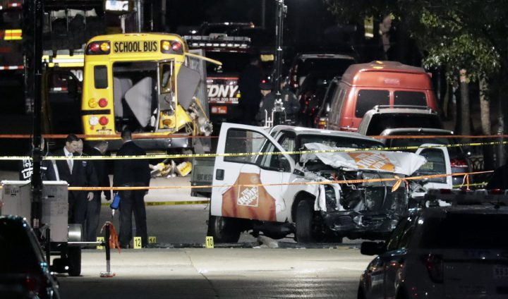 Authorities investigate the pickup truck and scene of a terror attack in downtown New York, New York, on Oct. 31, 2017.