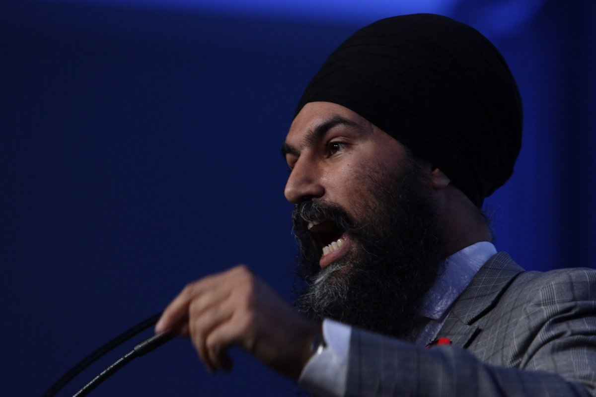 Federal NDP Leader Jagmeet Singh speaks to delegates and supporters in Victoria, B.C., on November 4, 2017.