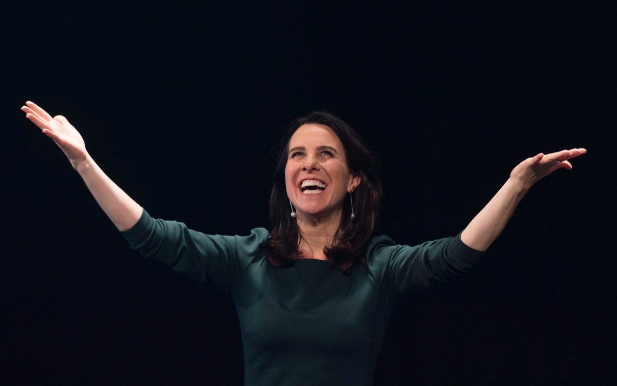 Valérie Plante speaks to supporters after being elected mayor of Montreal on municipal election night in Montreal, Sunday, November 5, 2017. THE CANADIAN PRESS/Graham Hughes