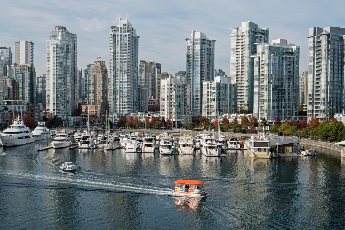 High-rise condominium towers crowd the False Creek shoreline of downtown Vancouver, B.C. on Tuesday, October 31, 2017.