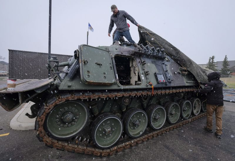 Canadian Forces veterans work on de-commissioned tanks and other army vehicles as therapy to deal with their PTSD at the Military Museums in Calgary, Alta., Wednesday, Oct. 11, 2017.