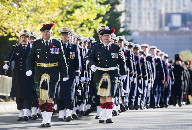 Members of the Canadian Armed Forces march during a Remembrance Day ceremony in Montreal, Nov. 11, 2017.