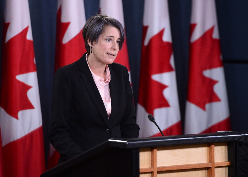 Debi Daviau, president of the Professional Institute of the Public Service of Canada, holds a press conference about the Phoenix pay system in Ottawa on Tuesday Nov. 14, 2017.