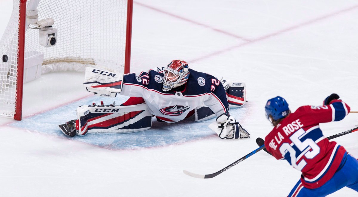 Columbus Blue Jackets goalie Sergei Bobrovsky stops a shot off the stick of Montreal Canadiens' Jacob de la Rose.