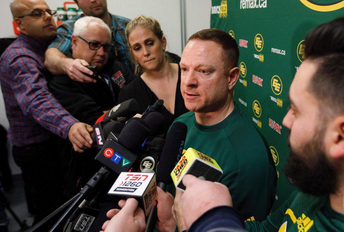 Edmonton Eskimos General Manager Brock Sunderland speaks about the year after being eliminated from the Western Finals by the Calgary Stampeders, in Edmonton, Alta., on Tuesday November 21, 2017.
