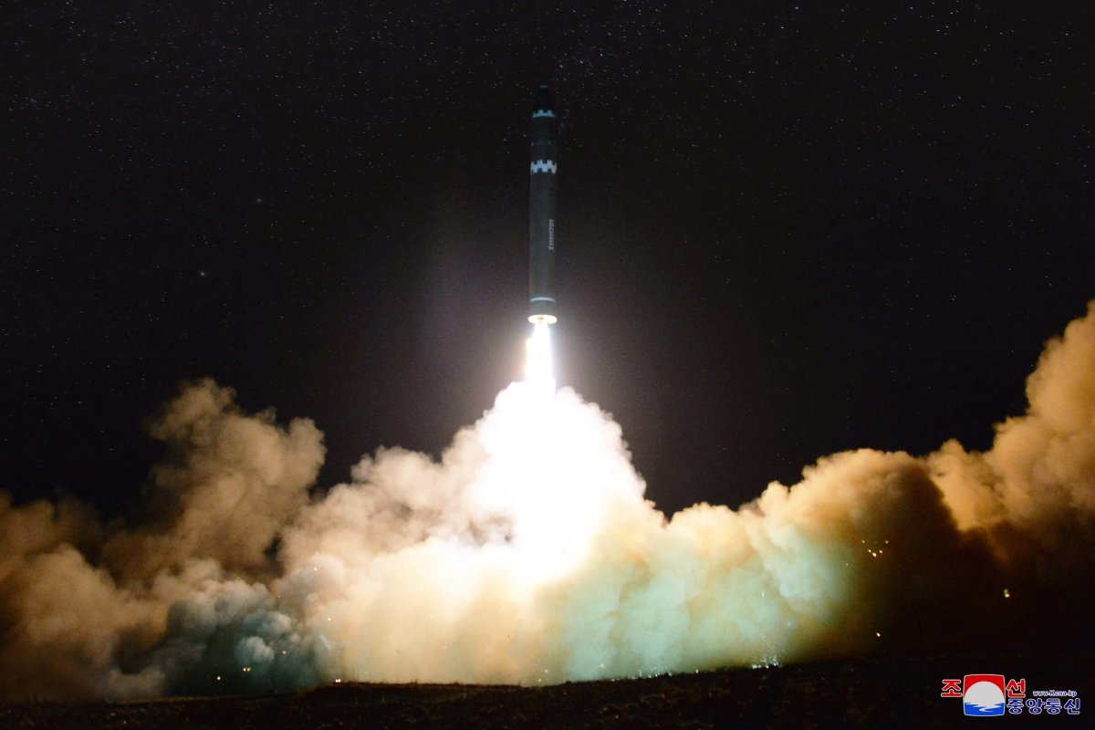 The launch of the newly developed inter-continental ballistic missile Hwasong-15 from an undisclosed location in North Korea, .
