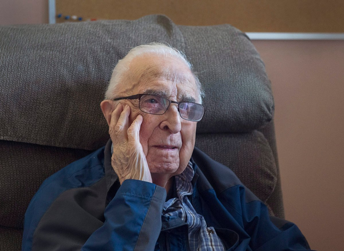 Jim Cuvelier, 101-years-old, is seen in his room at Camp Hill Veterans Memorial hospital in Halifax on Monday, Nov. 6, 2017. Cuvelier was an infant when the Halifax Explosion on Dec. 6, 1917 razed the city's North End, killing approximately 2,000 people.