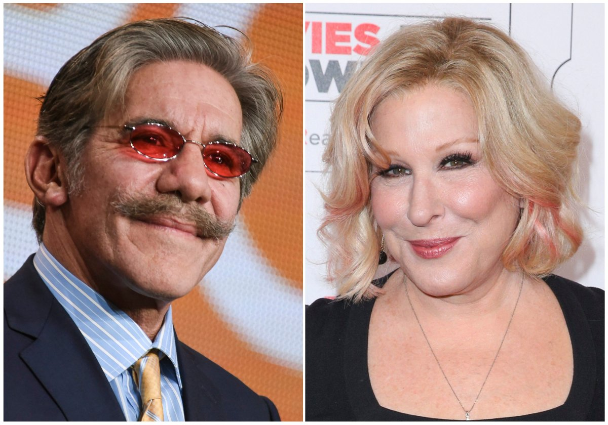 """This combination photo shows Geraldo Rivera at """"The Celebrity Apprentice"""" panel at the NBC 2015 Winter TCA in Pasadena, Calif., on Jan. 16, 2015, left, and Bette Midler at the 15th Annual Movies for Grownups Awards in Beverly Hills, Calif., on Feb. 8, 2016."""