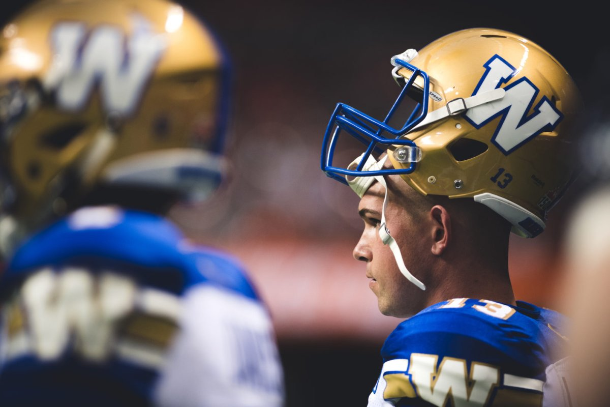 Dan LeFevour (13) of the Winnipeg Blue Bombers during the game against the BC Lions at BC Place Stadium in Vancouver, BC., on Friday, July 21, 2017. (Photo: Johany Jutras).