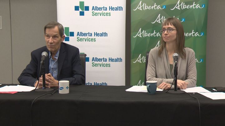 Dr. Gerry Predy and Dr. Deena Hinshaw speak about the STI outbreak in Alberta on Tuesday, Nov. 14, 2017.