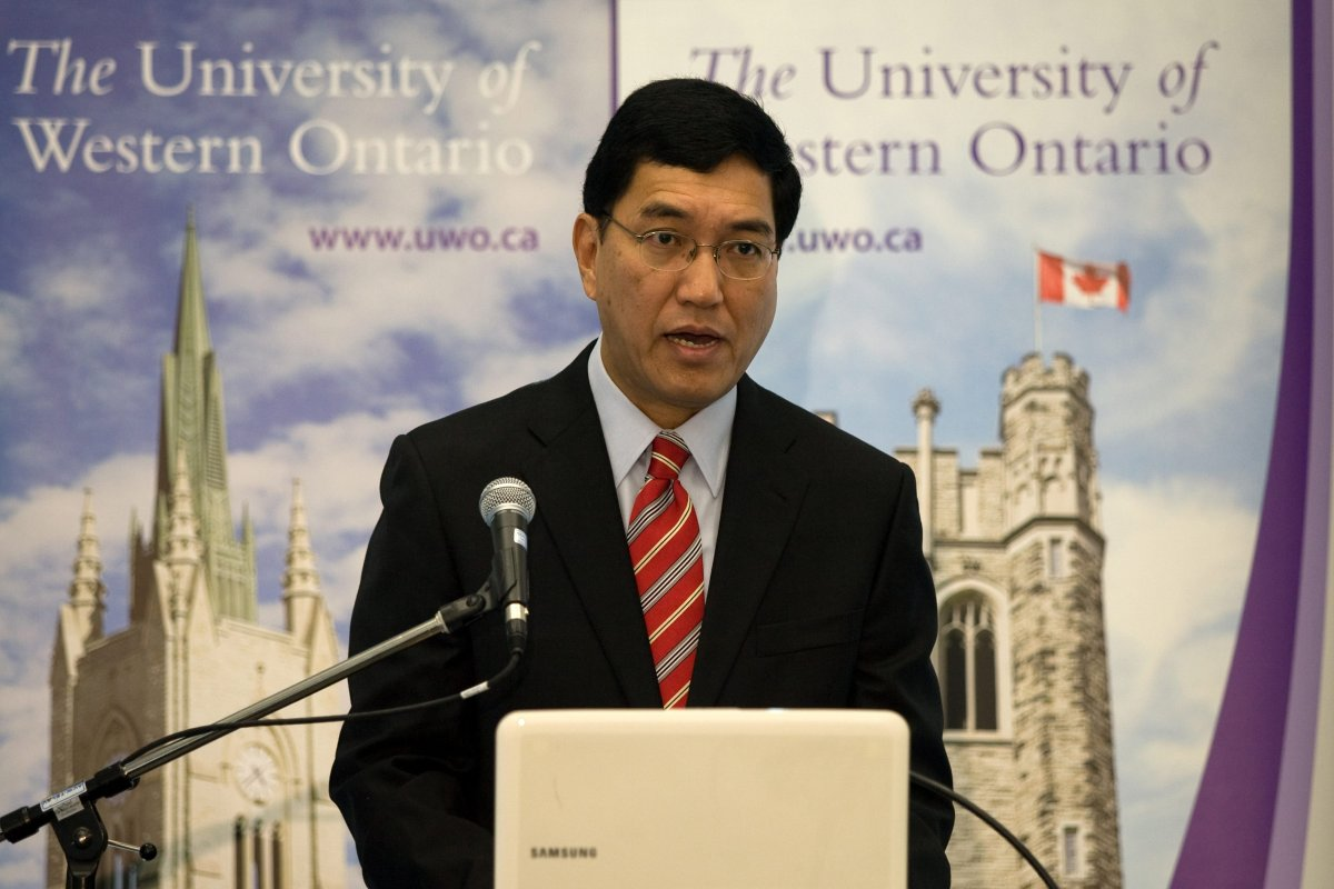 Western University President Amit Chakma at a press conference in December 2011.