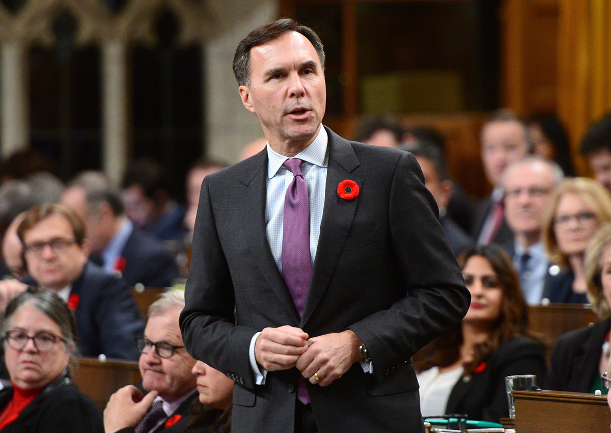 Minister of Finance Bill Morneau stands during question period in the House of Commons on on Parliament Hill in Ottawa on Tuesday Nov. 7, 2017.