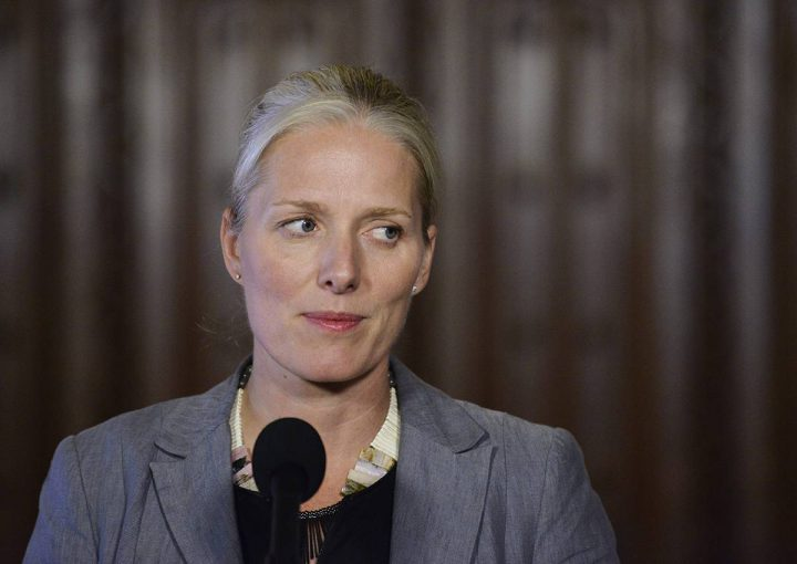 Catherine McKenna talks with media in Ottawa on Friday, September 22, 2017.