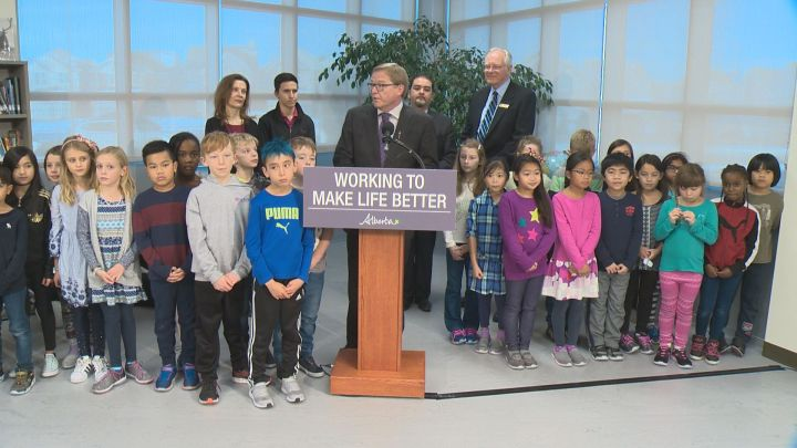 Education Minister David Eggen announces funding for two Catholic school projects in Edmonton Wednesday, Nov. 29, 2017.