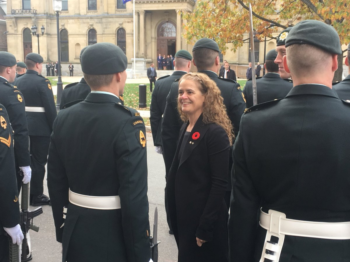 Governor General Julie Payette inspects members of guard during her visit to New Brunswick.