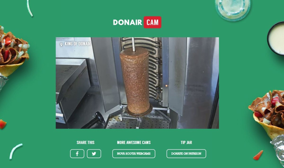 The 24-hour livestream features seasoned donair meat rotating on the spit at the King of Donair restaurant on Quinpool Road in Halifax.