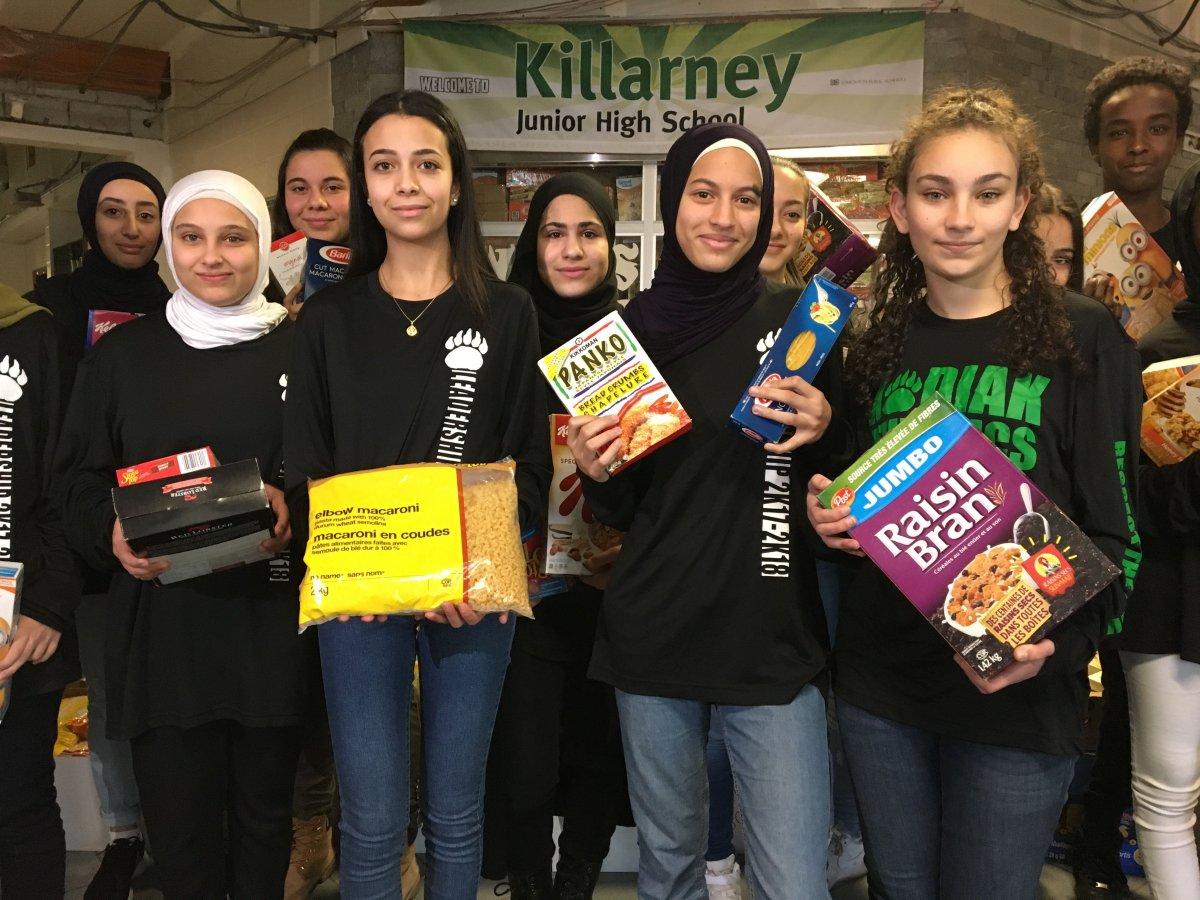 Killarney School collects 10,000 items for the Edmonton Food Bank, Wednesday, Nov. 29, 2017.